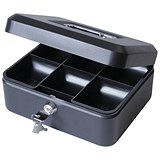 Image of Cash Box with Simple Latch and 2 Keys plus Removable Coin Tray 200mm Black