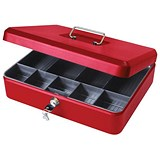 Image of Cash Box with Simple Latch and 2 Keys plus Removable Coin Tray 300mm Red