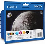 Brother LC1000VALBP Inkjet Cartridge Value Pack - Black, Cyan, Magenta and Yellow (4 Cartridges)