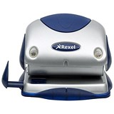 Image of Rexel P215 2-Hole Punch with Nameplate / Silver and Blue / Punch capacity: 15 Sheets