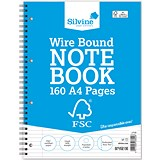 Silvine Wirebound Notebook / A4 / Perforated / 160 Pages / Pack of 5
