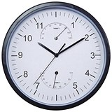 Image of Wall Clock with Temperature and Hygrometry Dials Diameter 300mm Black/White