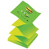 Image of Post-it Z-Notes / 76x76mm / Neon Green / Pack of 12 x 100 Notes