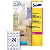 Image of Avery Crystal Clear Circular Laser Labels / 24 per Sheet / 40mm Diameter / L7780-25 / 600 Labels