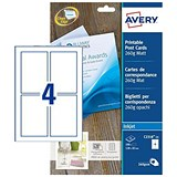 Image of Avery Correspondence Inkjet Cards / 128 x 82mm / Matt White / 250gsm / Pack of 100