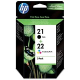 HP 21/22 Black/Tri-Colour Ink Cartridges (2 Cartridges)