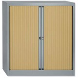 Trexus Medium Side Opening Tambour Cupboard / 1000mm High / Beech Shutters / Silver Frame