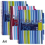 Pukka Pad Wirebound Project Notebook / A4 / Ruled / 250 Pages / 5-Divider / Assorted / Pack of 3