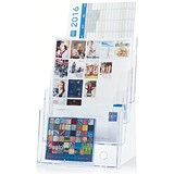 Image of Literature Display Holder / Multi-Tier for Wall or Desktop / 4 x A4 Pockets / Clear