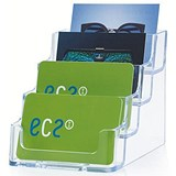 Image of Tiered Desktop Business Card Holder / 4 Pockets / Clear