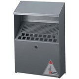 Image of Durable Ash Bin Wall-mounted Capacity 4 Litres W310xD107xH450mm Stainless Steel Ref 3334/23