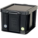 Large (35 Litre) Really Useful Storage Box - Black Strong Plastic