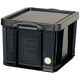 Image of 42 Litre Really Useful Storage Box - Black Strong Plastic