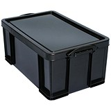 Image of 64 Litre Really Useful Storage Box - Black Strong Plastic