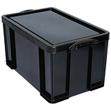 Extra Large (84 Litre) Really Useful Storage Box - Black Strong Plastic