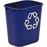 Image of Rubbermaid Wastebasket Polyethylene Rectangular 26.6 Litres W365xD260xH380mm Blue Ref 2956-73-BLU