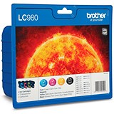 Brother LC980VALBP Inkjet Cartridge Value Pack - Black, Cyan, Magenta and Yellow (4 Cartridges)