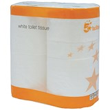 Image of 5 Star Toilet Tissue / White / 2 Rolls of 200 Sheets per Pack / 18 Packs