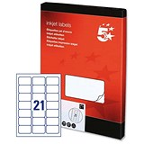 Image of 5 Star Inkjet Addressing Labels / 21 per Sheet / 63.5x38.1mm / White / 2100 Labels