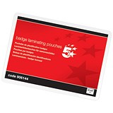 Image of 5 Star Laminating Pouches / 67x97mm / Glossy / Pack of 100