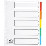 5 Star Maxi Index Dividers / Extra Wide / 5-Part / Multicoloured Mylar Tabs / A4 / White