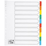 5 Star Maxi Index Dividers / Extra Wide / 10-Part / Multicoloured Mylar Tabs / A4 / White