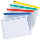 Image of 5 Star A4 Zip Filing Bags with Clear PVC Front & Coloured Seal / Assorted / Pack of 30