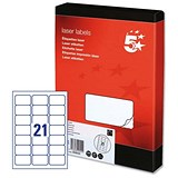 Image of 5 Star Multipurpose Laser Labels / 21 per Sheet / 63.5x38.1mm / White / 5250 Labels