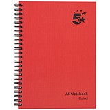 Image of 5 Star Wirebound Notebook / A5 / Ruled / 160 Pages / Pack of 5