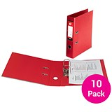 Image of 5 Star Foolscap Lever Arch Files / Plastic / 75mm Spine / Red / Pack of 10