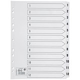 Image of 5 Star Index Dividers / 1-12 / Mylar Tabs / A4 / White
