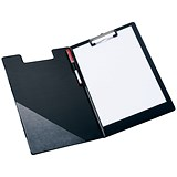 5 Star Fold-over Clipboard with Front Pocket / Foolscap / Black