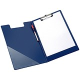 5 Star Fold-over Clipboard with Front Pocket / Foolscap / Blue