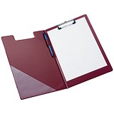 Image of 5 Star Fold-over Clipboard with Front Pocket / Foolscap / Red