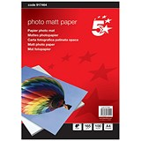 5 Star A4 Matt Inkjet Photo Paper / White / 165gsm / Pack of 100 Sheets