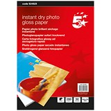 5 Star Inkjet Photo Gloss Fast Drying Photo Paper / 100 x 150mm / White / 260gsm / Pack of 50 Sheets