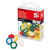 5 Star Indicator Pins / 20mm Head / Assorted Colours / Pack of 10