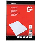 5 Star Headbound Refill Pad / A4 / 70gsm / Feint Ruled / 4-Hole Punched / 80 Sheets / Pack of 10