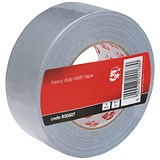 5 Star Heavy-duty Cloth Tape Roll / 50mmx50m / Silver