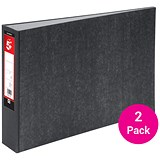 5 Star A3 Lever Arch Files / Landscape / Cloudy Grey / Pack of 2