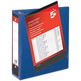 Image of 5 Star Presentation Ring Binder/ 4 D-Ring / 80mm Spine / 65mm Capacity / A4 / Blue / Pack of 10
