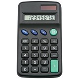 5 Star Pocket Calculator / 8 Key Display / Dual-powered by Solar & Battery