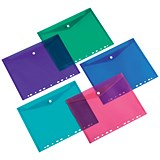 Image of 5 Star A4 Punched Filing Pockets / Assorted / Pack of 5