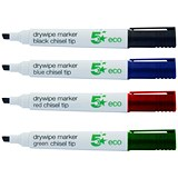 Image of 5 Star Eco Drywipe Markers / Chisel Tip / Assorted / Pack of 4