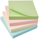 5 Star Eco Repositionable Sticky Notes / 76x76mm / Pastel / Pack of 12