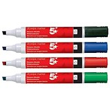 Image of 5 Star Drywipe Markers / Chisel Tip / Assorted / Pack of 4