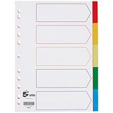 Image of 5 Star Elite Plastic File Dividers / 5-Part / Multicoloured Tabs / A4 / White