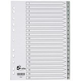 Image of 5 Star Elite Plastic Index Dividers / 1-20 / Grey Tabs / A4 / White