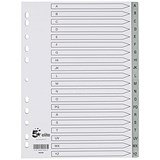 Image of 5 Star Elite Plastic Index Dividers / A-Z / Grey Tabs / A4 / White