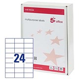 Image of 5 Star Office Multipurpose Labels Laser Copier Inkjet 24 per Sheet 64x34mm White 12000 Labels [Pack 500]